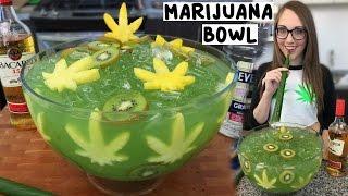Marijuana Jungle Juice Bowl with Banana Leaf Straws - Tipsy Bartender