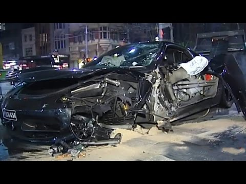 Ferrari 458 Italia Runs Red Light & Crashes : Driver Flees Scene !