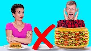 TANTANGAN KECIL VS SEDANG VS BESAR || Makanan Raksasa vs Kecil selama 24 Jam oleh 123 GO! CHALLENGE