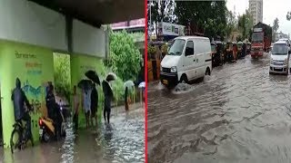 Waterlogging at Sion-Panvel highway after heavy downpour in Navi Mumbai