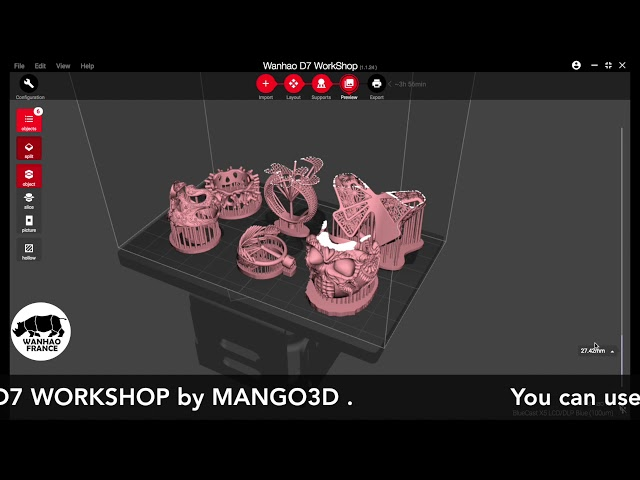 NANODLP export with D7 WORKSHOP by MANGO3D.IO for 3D printer like WANHAO Duplicator 7