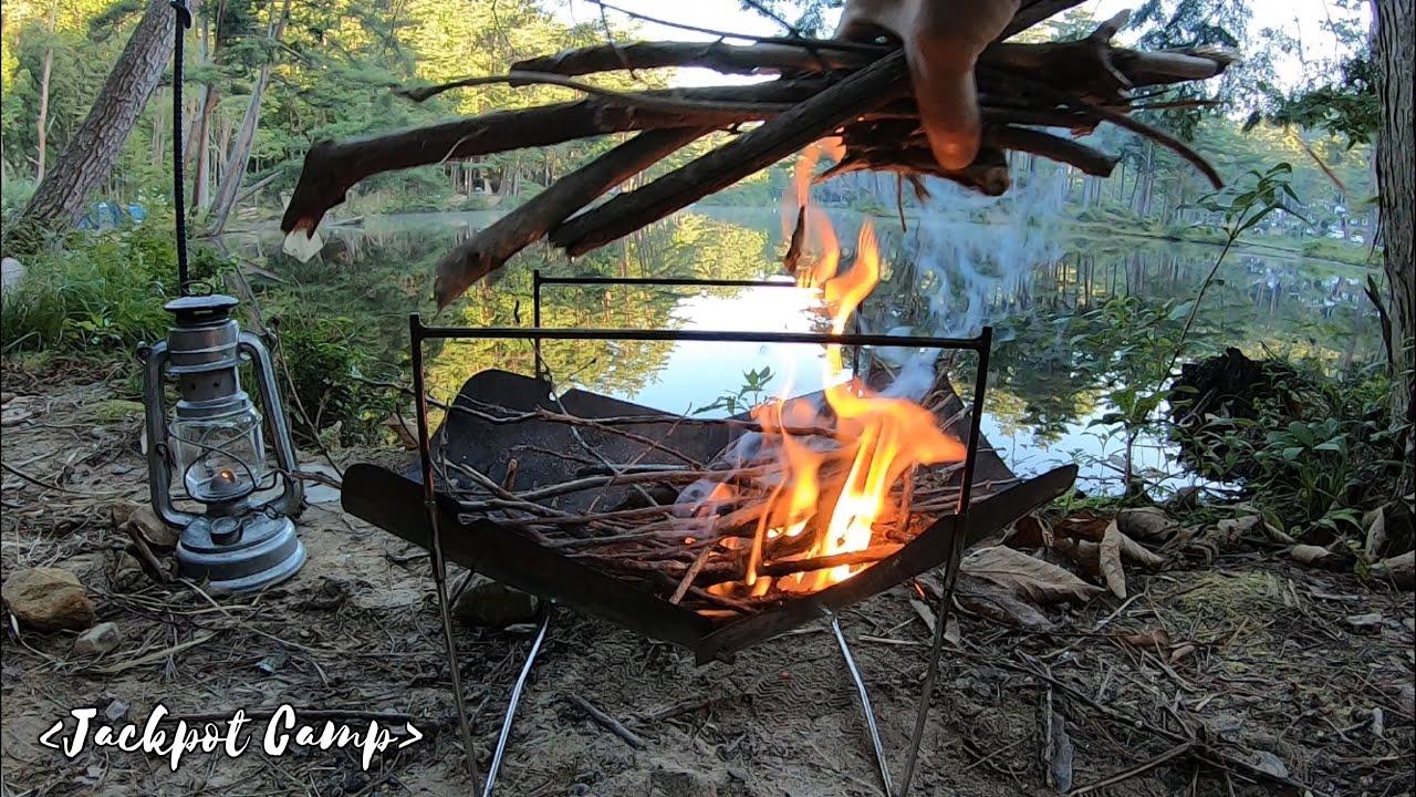 【湖畔キャンプ】すがすがしい朝の空気を味わいながら やっぱりブレない焚き火キャンプ(Bonfire from the morning)