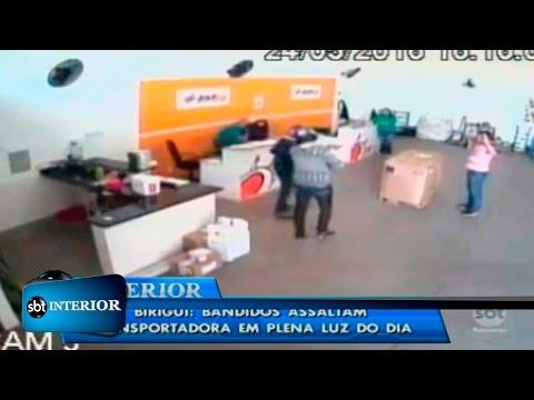 Bandidos assaltam transportadora em Birigui; câmera de monitoramento mostra ação