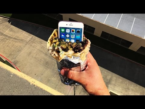 Can a Chipotle Burrito Protect iPhone 6s from 100 FT Drop Test? - GizmoSlip