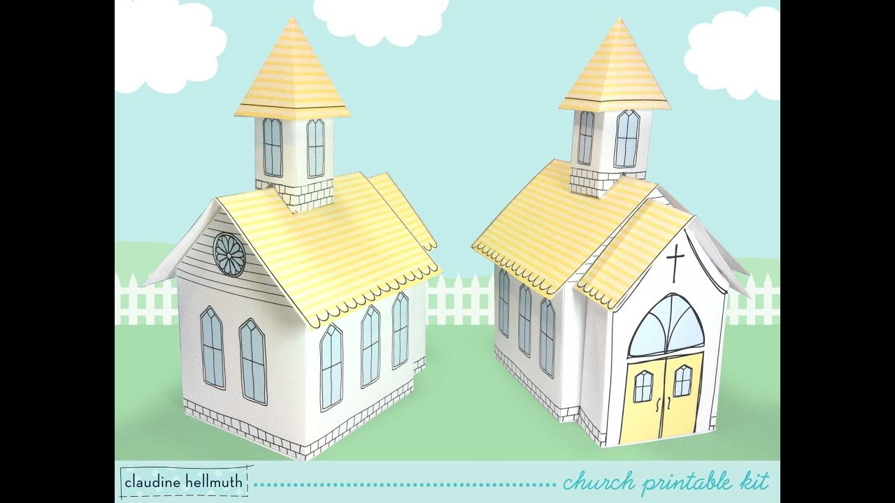 Make a paper church printable kit favor box and table centerpiece make a paper church printable kit favor box and table centerpiece decoration youtube maxwellsz