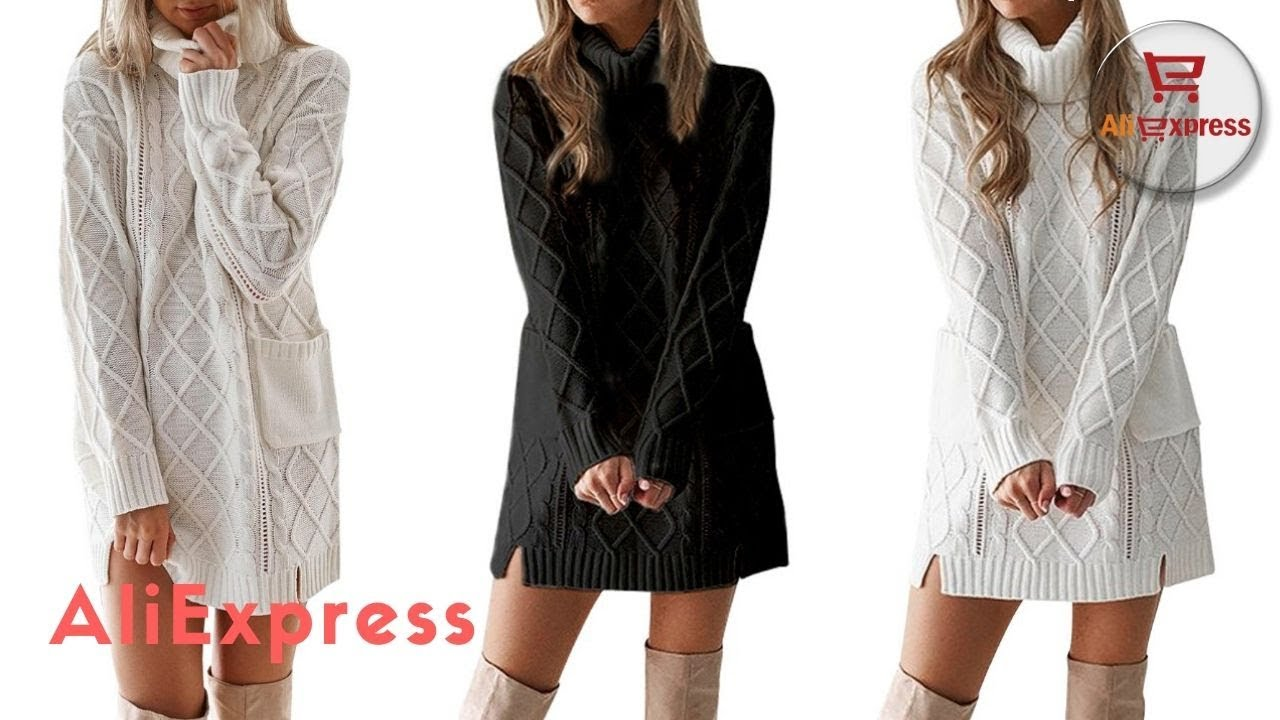 [VIDEO] - Dress From AliExpress. JAYCOSIN Dress Women Winter Sweater Cute Polyester Knit Turtleneck Warm Long. 6