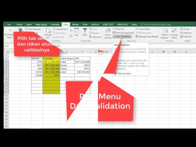 Validasi Input Data Di Excel