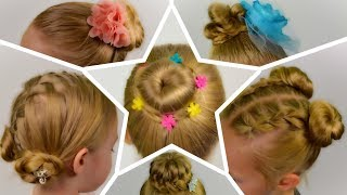 6 SIMPLE and BEAUTIFUL HAIR BUNs || SUMMER Hairstyles. Compilation of hairstyles #6