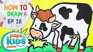 Sắc Màu Tuổi Thơ - Tập 28 - Bé Tập Vẽ Bò Sữa | How To Draw A Milk Cow For Kids