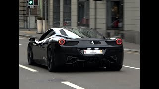 Two loud Ferrari 458 Italia in Zurich w/Capristo & Novitec exhaust (loud sound!)