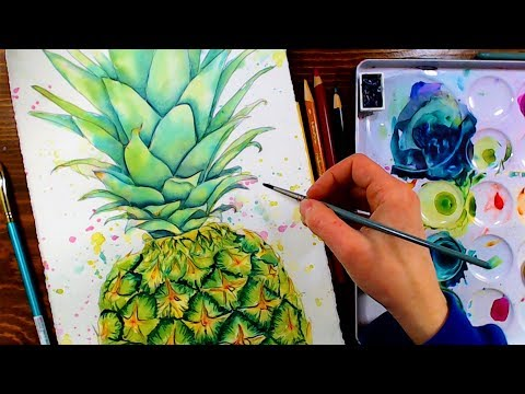 LIVE! Pineapple in Watercolor/Mixed Media 12:30pm ET