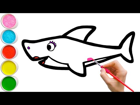 Learn How To Draw Pink Mommy Shark   Easy Drawing For Kids #37