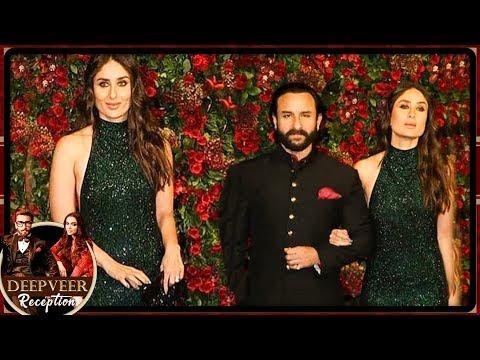 Saif Ali Khan Kareena Kapoor NAWAB LOOK At Deepika Ranveer Mumbai Reception Party 2018