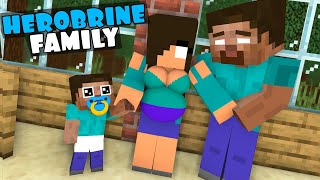 Monster School : HEROBRINE  FAMILY - STRONGEST FAMILY CHALLENGE   - Minecraft Animation