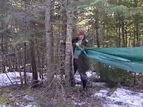 DIY cheap tarp hammock and set up - YouTube