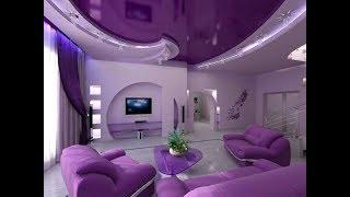 Установка фиолетовых натяжных потолков