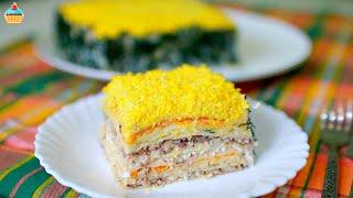 Закусочный торт Мимоза из вафельных коржей Рецепт рыбной закуски на праздник