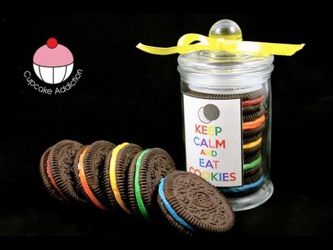 Rainbow Oreo Cookie Jars - Easy No-Bake Recipe! A Cupcake Addiction How To Tutorial