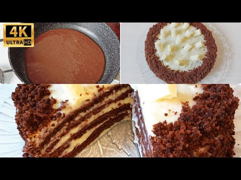 БЕЗ ДУХОВКИ.  Шоколадный торт на сковороде.DUXOFKASIZ MIKSERSIZ Tovoda shokoladli tort tayyorlash