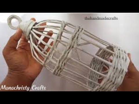 How to make Newspaper Bird Cage Homemade craft .....!!!!!!!!