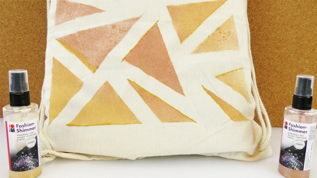 turnbeutel selber gestalten trend rucksack in bronze gold ethno glamour look mit dreiecken. Black Bedroom Furniture Sets. Home Design Ideas