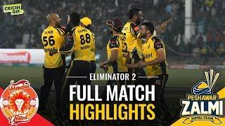 psl 2019 eliminator 2 islamabad united vs peshawar zalmi caltex full match highlights