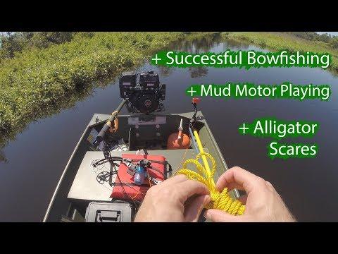 Jon Boat with Swamp Runner Mud Motor out Bowfishing Tilapia