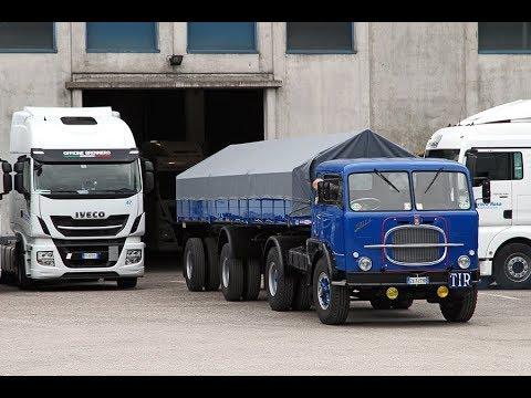 Un vecchio camion Fiat con un semirimorchio  da infarto .... Onore a Corriere Rosa