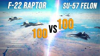 100 F-22 Raptor Vs 100 Su-57 Felon Dogfight | Digital Combat Simulator | DCS |