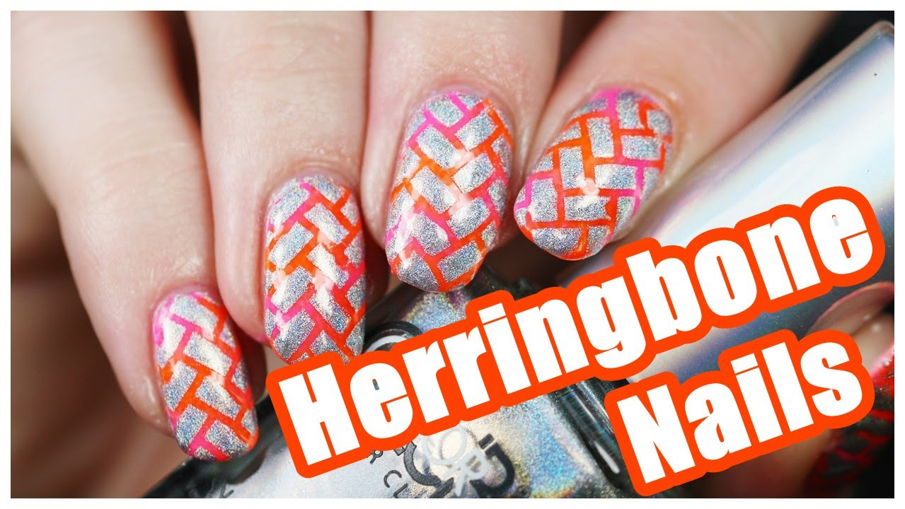 Neon Herringbone Design Nail Art Tutorial Paintedbypolish Youtube