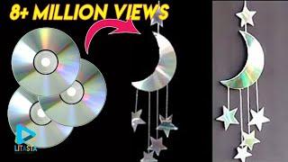 Ide kreatif membuat hiasan bulan 🌙 dan bintang ⭐dari CD bekas | DIY ROOM DECOR