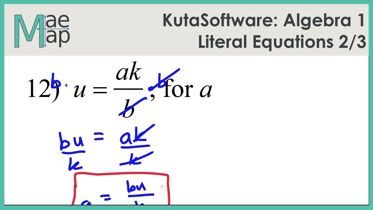 Kutasoftware Algebra 1 Literal Equations Part 2 Youtube