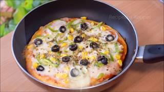 बिना ओवन के बनाये बाजार जैसा पिज़्जा | Homemade Pizza Base/Pizza Recipe On Pan Or Tawa
