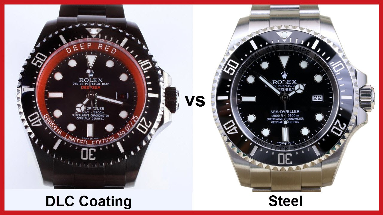 coating watch red watches black stainless dlc rolex vs pvd comparison steel deepsea youtube