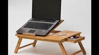 Wooden Bamboo Laptop Table For Bed With Big Cooling Fan