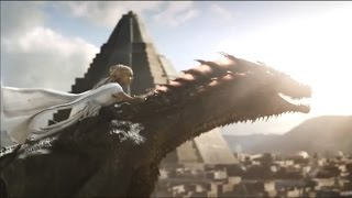Daenerys Targaryen flying with her dragon, Drogon (S05E09)