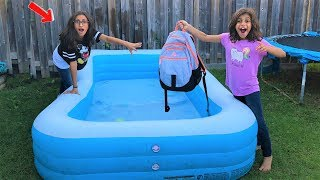 Kids SCHOOL BACKPACK IN THE SWIMMING POOL PRANK!! funny video