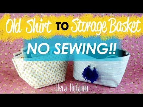 EASY DIY : OLD TSHIRT TO STORAGE BASKET (No Sewing) | Hera Hutajulu