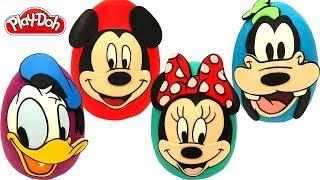 4 Ovos Surpresas de Mickey Mouse e Amigos em Portugus Brasil de Massinha Play Doh