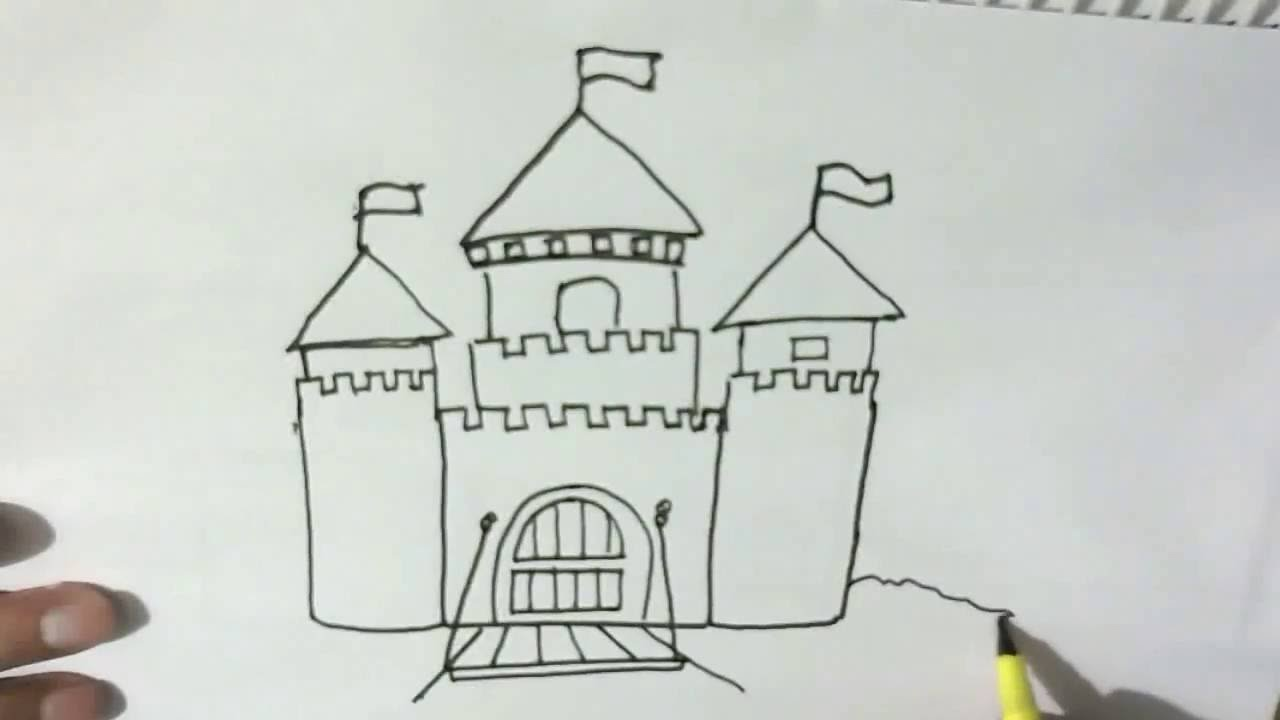 how to draw a castle in easy steps for children kids beginners
