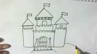 How to draw a cartoon castle  - in easy steps for children, kids, beginners Step by step