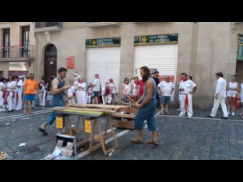 Music from wood   festival of San Fermín in the city ofPamplona (Navarre, Spain