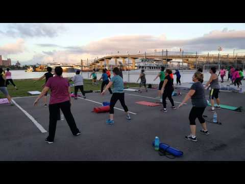 Outdoor Fitness Bahamas Warming Up By Soccer Facility