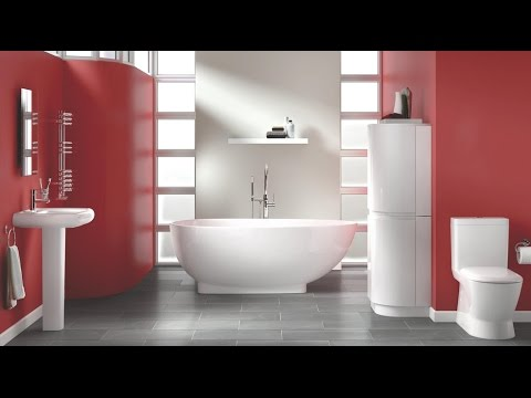 Красная и красно-белая ванная комната