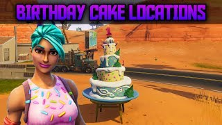 Dance in front of different Birthday Cakes - All Birthday Cake Locations in Fortnite