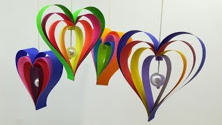How to make 3D Paper Heart Wall Hanging  Christmas Decoration Ideas  Paper Wall Hanging Crafts