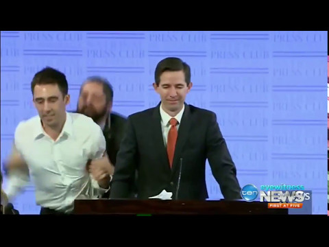 Simon Birmingham interrupted at the NPC by protesting university students