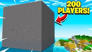 I *FORCED* 200 Minecraft Players Inside A GIANT Bedrock Cube!