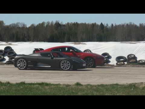 1080p: Switzer P800 Nissan GTR vs Koenigsegg CCR Evo 1st gear start Race 1