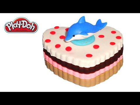 Playdoh Heart Cake with Dolphin Topper